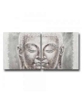 Diptyque visage de Bouddha 2x100x100 cm création manuelle