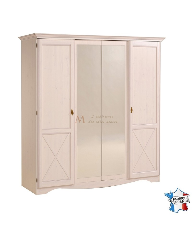 armoire romantique 4 portes 2 miroirs d cor pin blanc et bronze. Black Bedroom Furniture Sets. Home Design Ideas