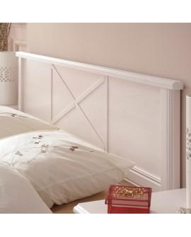 Détail de la tête de lit ERINA lit adulte pin blanchi style campagne chic