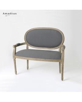 Canapé médaillon de style Louis 16 AMC530 structure mahogany tissu gris