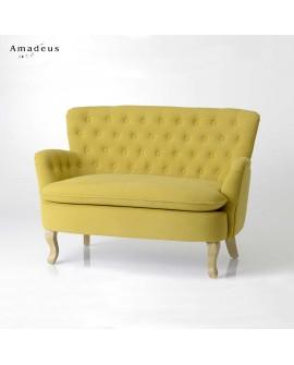 Banquette crapaud 2 places AMC984 tissu jaune piqué avec boutons