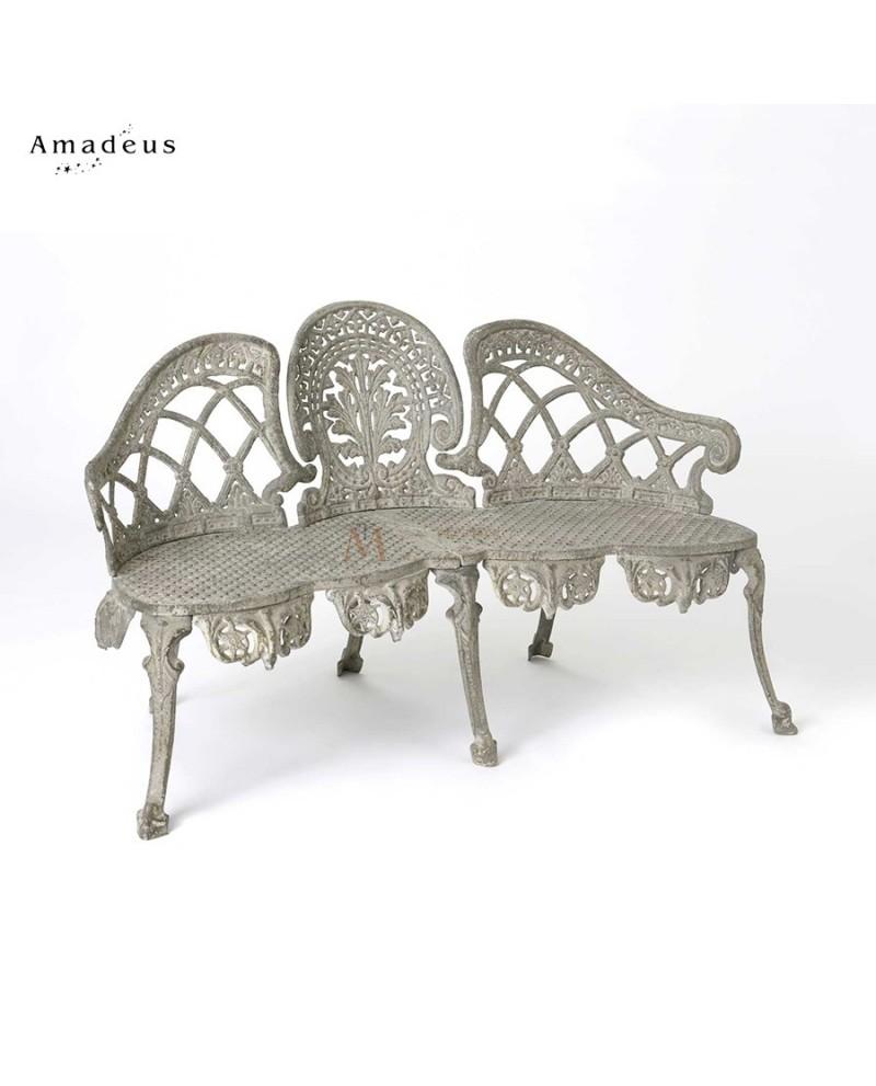 canap banc style baroque 3 places fonte teint e gris. Black Bedroom Furniture Sets. Home Design Ideas