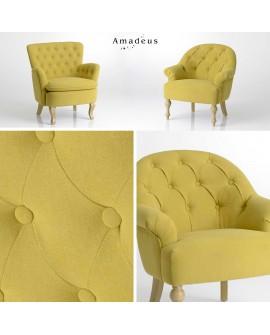 Deux fauteuils classiques chic AMF8688 tissu moutarde capitonné et piqué