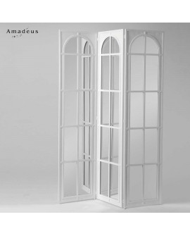 Paravent 3 pans avec miroirs AMP895 couleur blanche