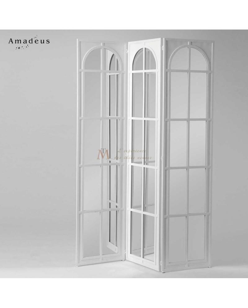 Paravent blanc 3 pans avec miroirs quadrill s for Miroir 3 pans
