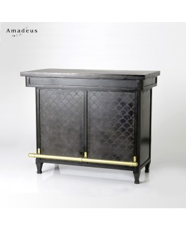 Meuble bar de style vintage bois et métal AMB7382 façade motif à écailles