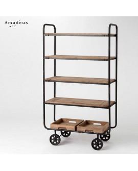Chariot étagère bibliothèque de style industriel AME544 bois et métal