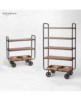 Ensemble chariot et étagère de style industriel AME447 bois de pin et fer