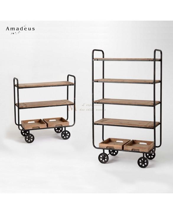 Ensemble tag re et console style industriel fer et bois for Meuble etagere style industriel