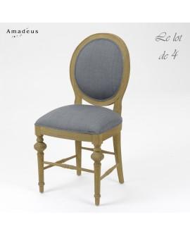 Lot de 4 chaises de salle à manger LEGEND style classique chic bois et tissu