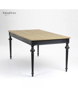 Table de salle à manger classique chic LEGEND noire avec plateau bois naturel