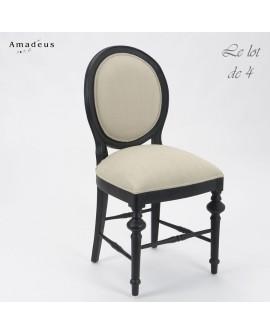 Lot de 4 chaises de salle à manger LEGEND2 style baroque chic bois noir et tissu