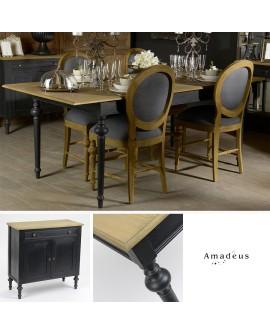 salle manger compl te 6 pi ces baroque chic ch ne et noir. Black Bedroom Furniture Sets. Home Design Ideas