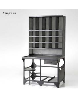 Bureau à casier de style industriel AMB078 métal teinté noir