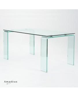 Table repas en verre AMC216 style moderne patin acier brossé
