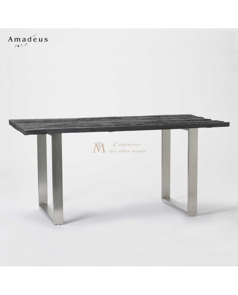 table de salle manger bois de manguier recycl pieds acier. Black Bedroom Furniture Sets. Home Design Ideas