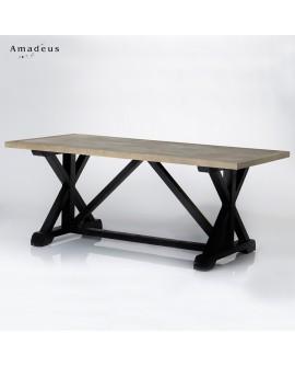 Table de salle à manger style montagne AMT122 piétement noir plateau cérusé