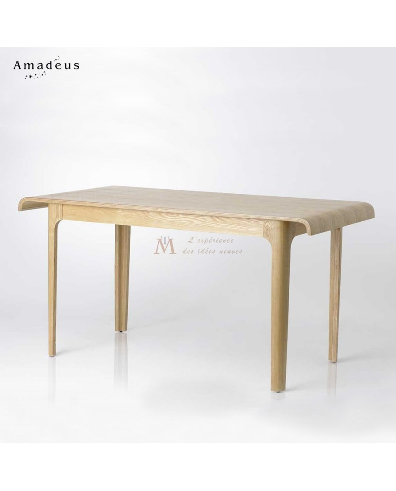 Table repas style scandinave fr ne vernis bords incurv s for Table de salle a manger 15 couverts