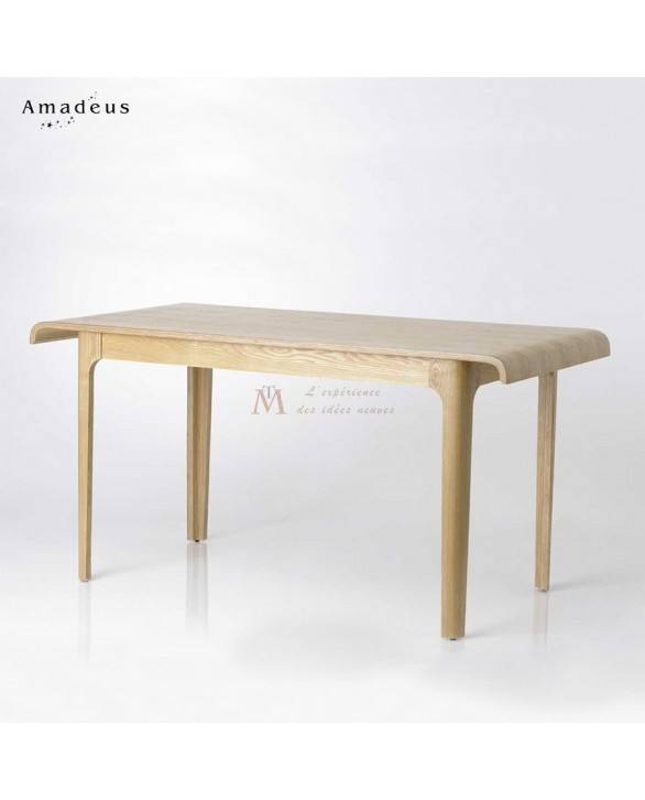 Table repas style scandinave fr ne vernis bords incurv s Salle a manger style scandinave