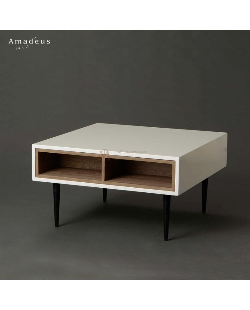 table basse carrée moderne laque blanc niches bois amovibles