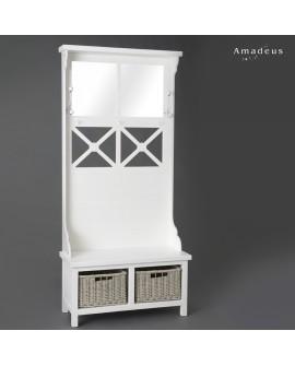 Vestiaire peint en blanc AMV200 5 patères 2 miroirs et 2 paniers à chaussures