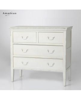 Commode contemporaine 4 tiroirs avec poignées métal AMC133 bois peint en blanc