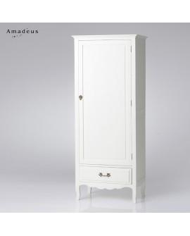 Bonnetière AMB113 bois de bayur peint en blanc 1 porte 1 tiroir