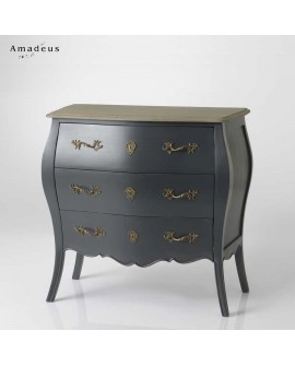 Commode Louis XV 3 tiroirs AMC189 noire avec plateau bois cérusé