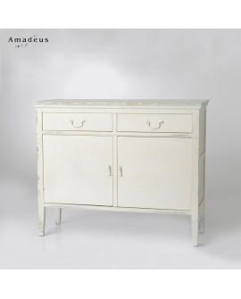 Buffet contemporain AMB132 bois peint en blanc poignées métal