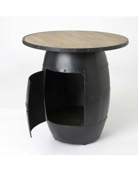 ensemble table basse et 4 tabourets tonneaux fer plateau pin. Black Bedroom Furniture Sets. Home Design Ideas