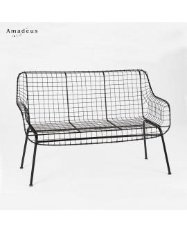 Canapé de style industriel AMS2930 grillage en acier noir
