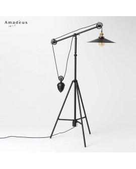 Lampadaire de style industriel Michael AML418 métal noir