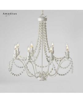 Lustre romantique en fer peint en blanc AML625 8 ampoules