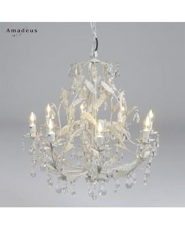 Lustre romantique en fer peint en blanc AML625 8 ampoules e14 brillants acrylique