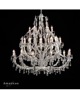Lustre romantique en fer peint en blanc AML499 30 ampoules e14 brillants acrylique