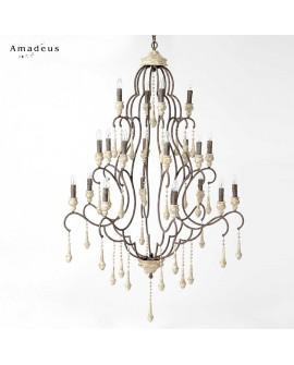 Lustre baroque chic en fer vieilli et bois AML685 20 ampoules
