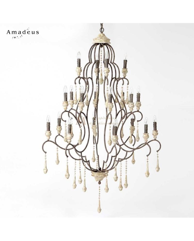 grand lustre m dicis 20 branches m tal vieilli pampilles bois. Black Bedroom Furniture Sets. Home Design Ideas