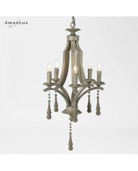 Lustre suspension style shabby AML495 bois et métal 5 ampoules