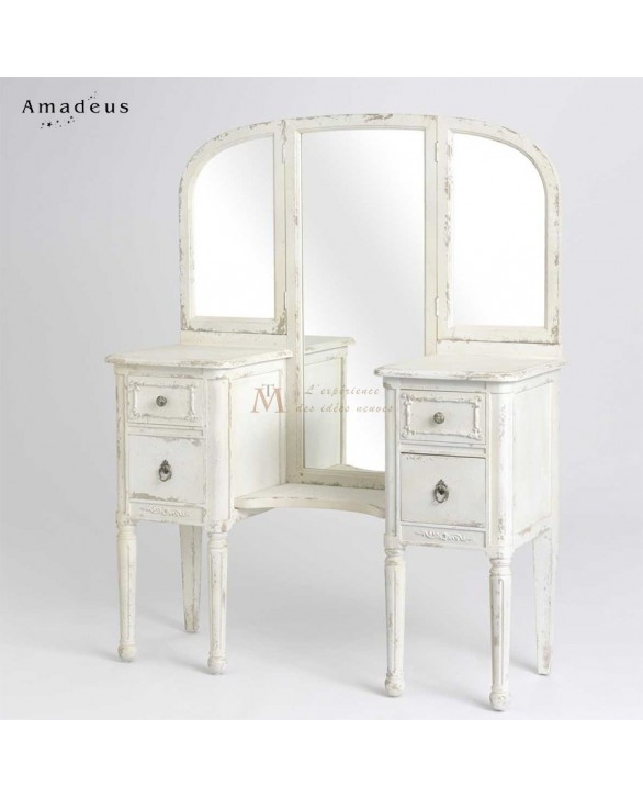 grande coiffeuse shabby chic pin blanchi et patin 4 tiroirs. Black Bedroom Furniture Sets. Home Design Ideas