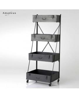 Etagère de style industriel AME014 en métal constituée de 4 valises