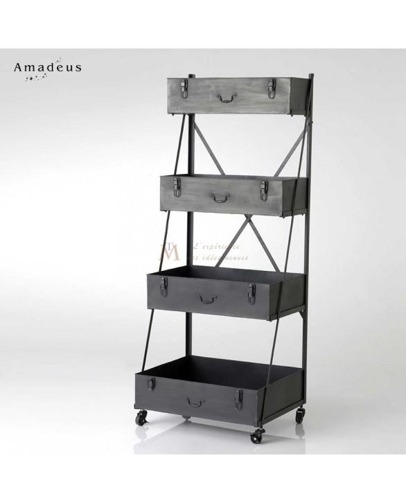 Etag re sur roues style industriel 4 niveaux valises m tal for Meuble etagere style industriel