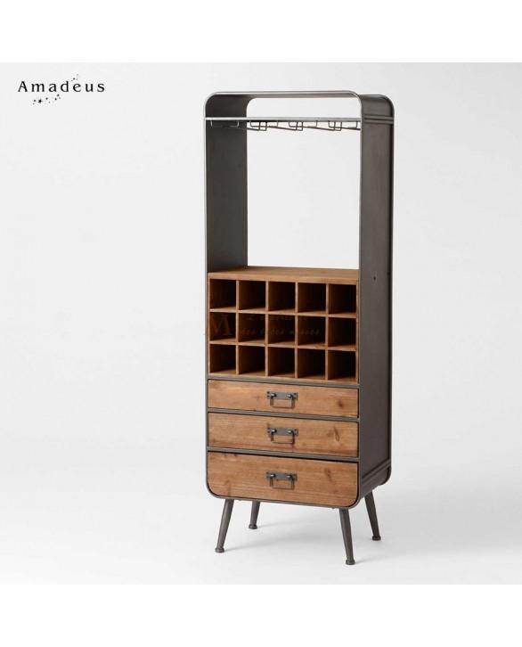 etag re bar style industriel 3 tiroirs casier et porte verres. Black Bedroom Furniture Sets. Home Design Ideas