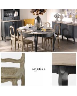 Ensemble repas 5 pièces AMR9855 table extensible et 4 chaises cannées