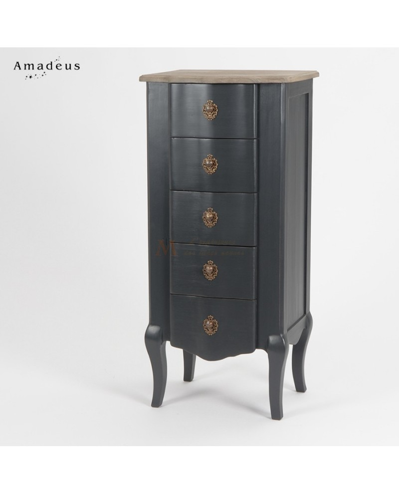chiffonnier baroque chic anthracite et bois naturel 5 tiroirs. Black Bedroom Furniture Sets. Home Design Ideas