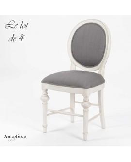Lot de 4 chaises de salle à manger AMC684 style baroque chic bois blanc et tissu gris