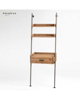 Etagère de style industriel AME500 en métal et bois de pin
