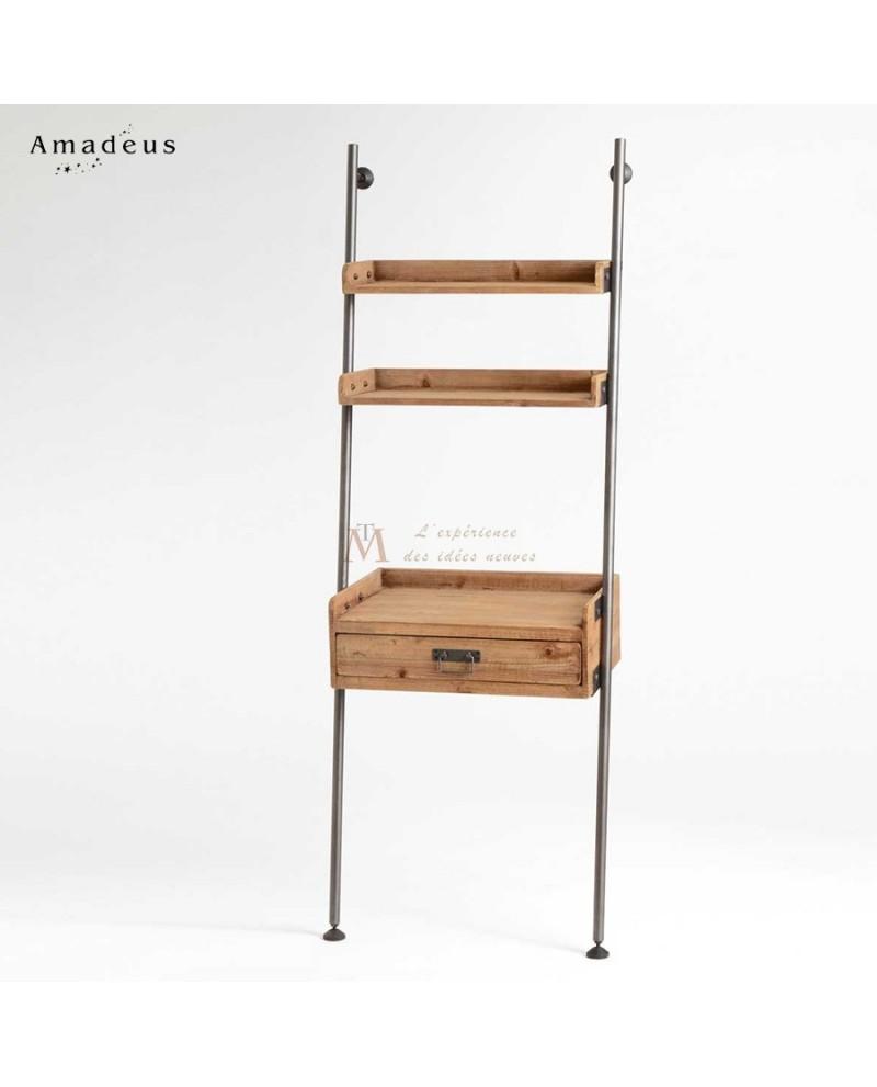 etag re chelle m tal style industriel tablettes et tiroir bois. Black Bedroom Furniture Sets. Home Design Ideas