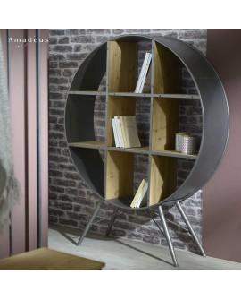 Photo en ambiance de la bibliothèque ronde AMB707 style industriel bois et métal
