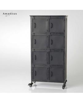 Armoire de style industriel AME013 en métal constituée de 8 casiers