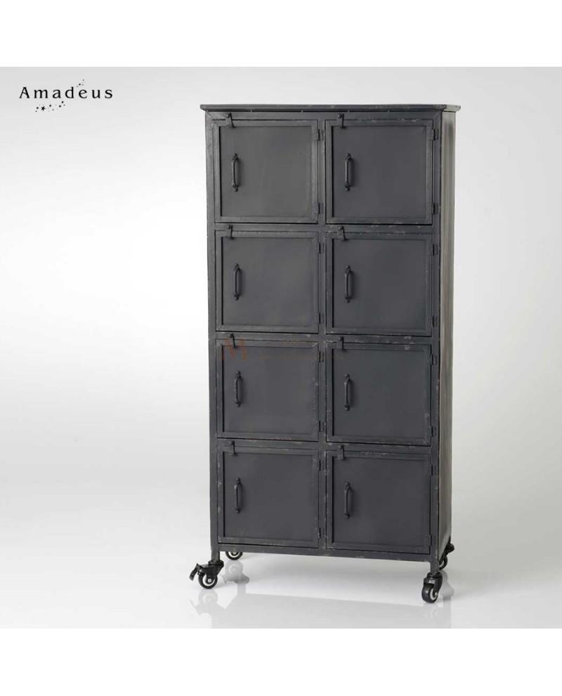 Armoire Sur Roulettes 8 Casiers Style Industriel M Tal Noir # Chiffonnier D'Angle Style Industriel